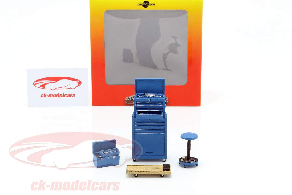 Tire Brigade Shop 4-Piece Tool Set azul 1:18 MotorHeadMiniatures