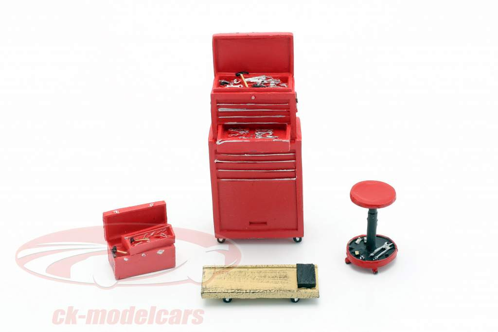 Tire Brigade Shop 4-Piece Tool Set rød 1:18 MotorHeadMiniatures
