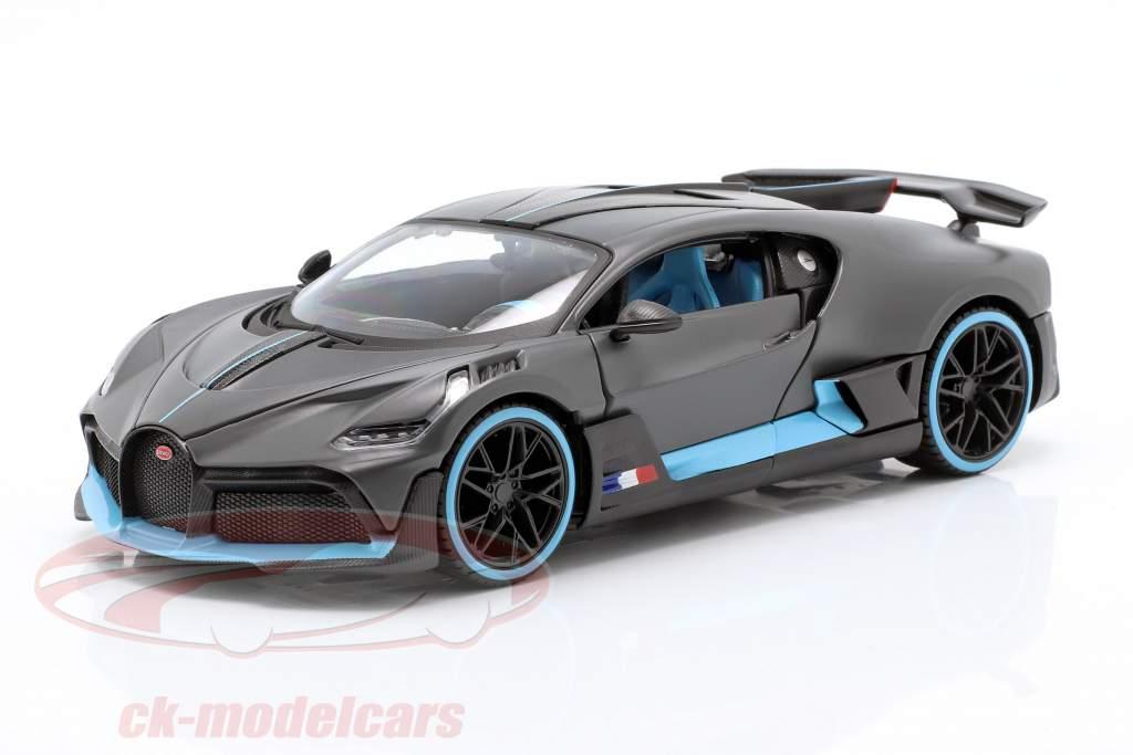 Bugatti Divo ano de construção 2018 esteira cinza / luz azul 1:24 Maisto