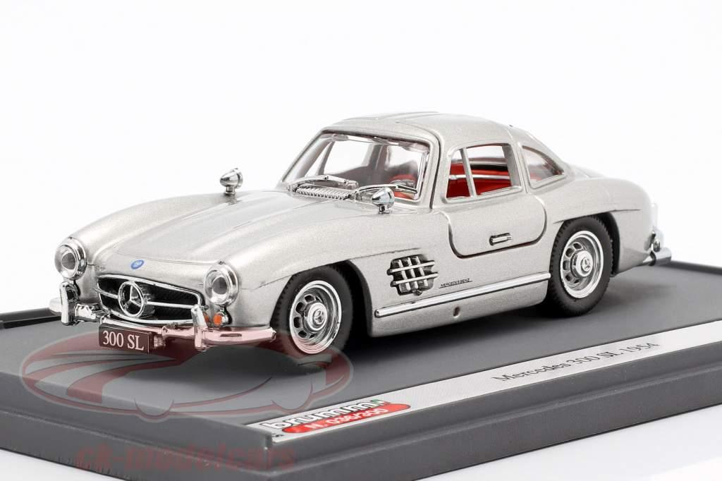 Mercedes-Benz 300 SL (W198) Gullwing Opførselsår 1954 sølv 1:43 Brumm