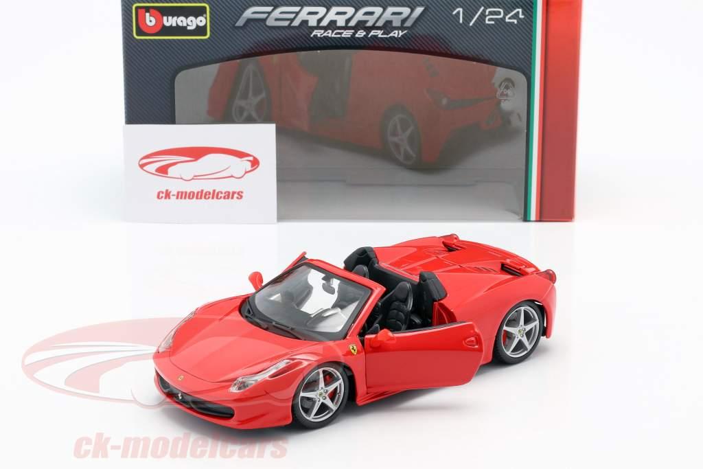 Ferrari 458 Spider rød 1:24 Bburago