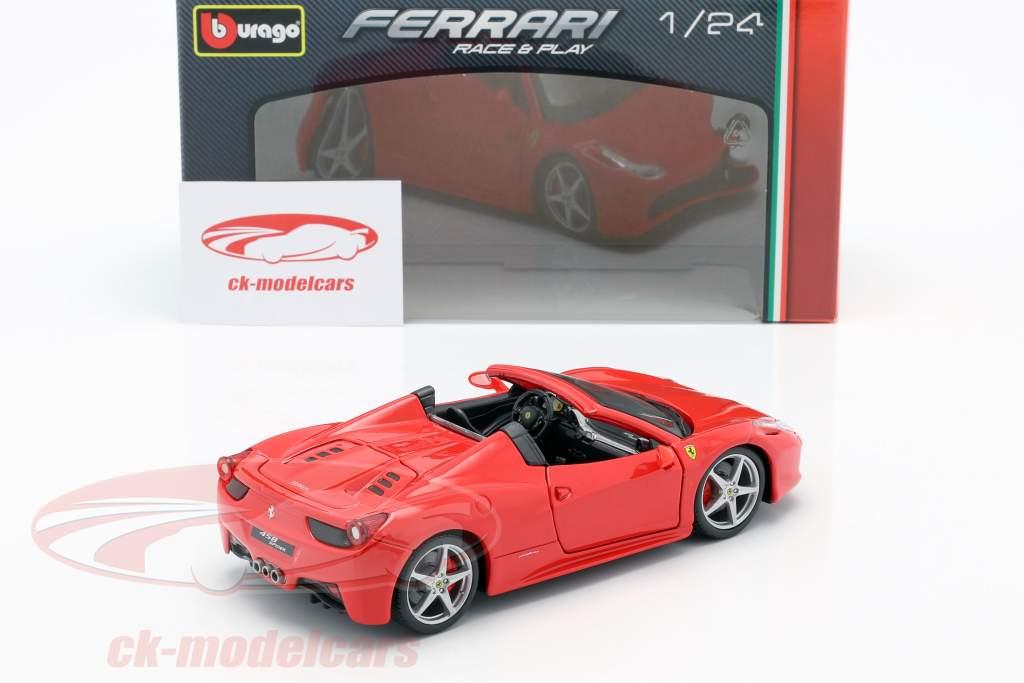 Ferrari 458 Spider vermelho 1:24 Bburago