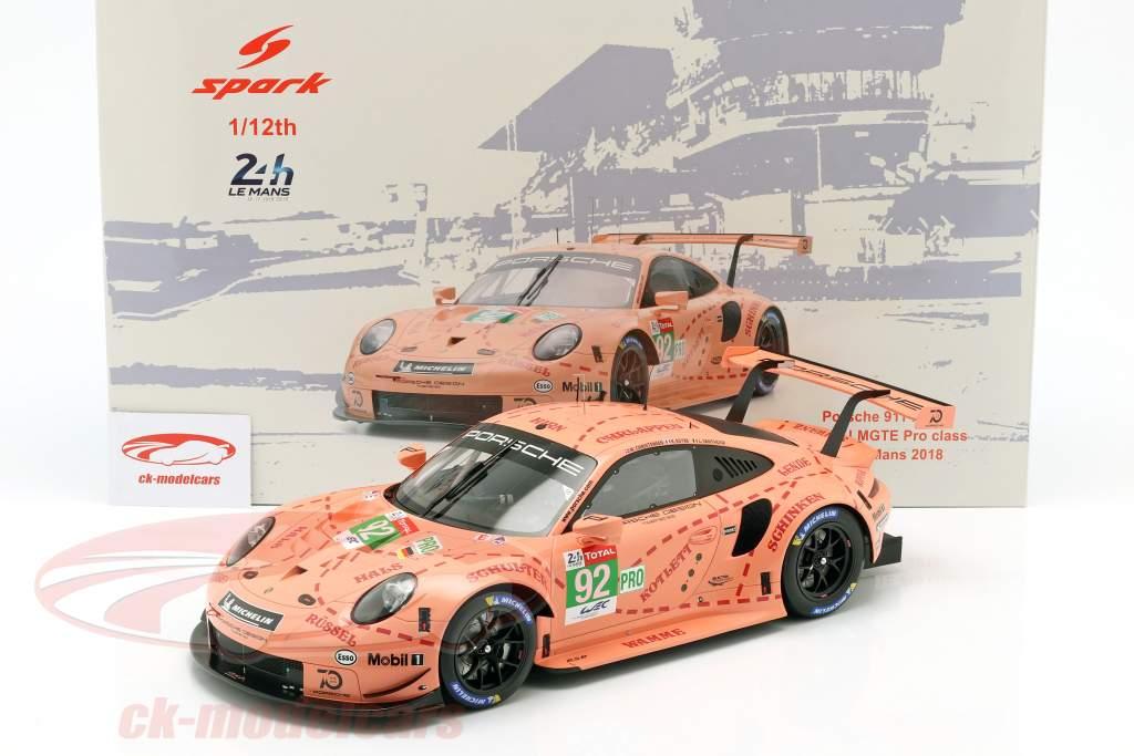 Porsche 911 RSR #92 Class Winner LMGTE Pink Pig 24h LeMans 2018 1:12 Spark