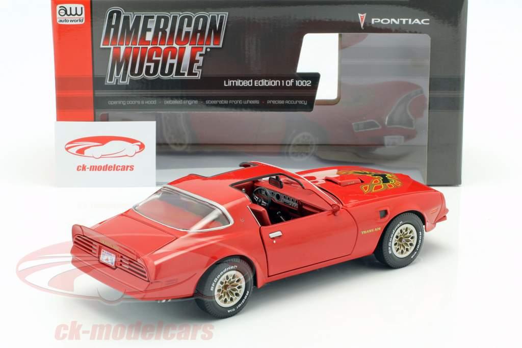 Pontiac Firebird Trans Am Bouwjaar 1977 rood 1:18 Autoworld