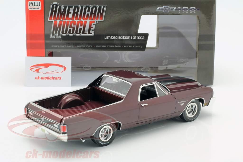 Chevrolet El Camino Pick Up Baujahr 1970 dunkelrot metallic 1:18 Autoworld