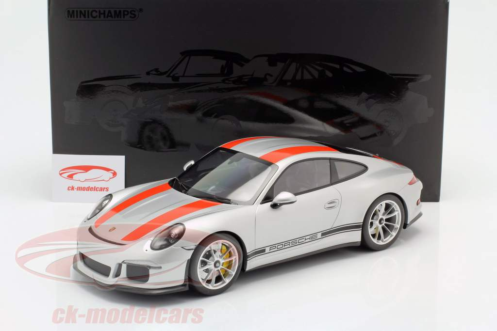 Porsche 911 R year 2016 silver with red stripes 1:12 Minichamps