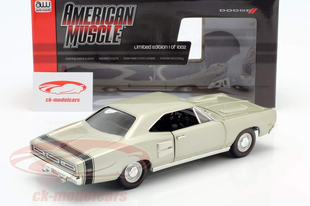 Dodge Coronet R/T Byggeår 1969 sølvgrøn metallisk 1:18 Autoworld