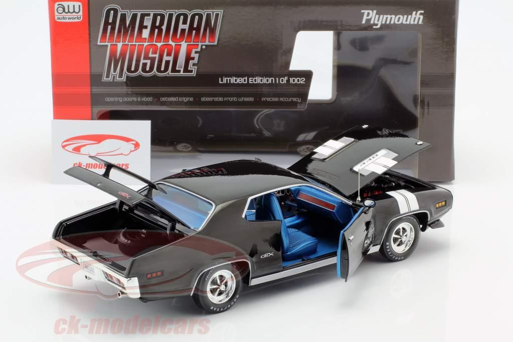 Plymouth GTX Anno di costruzione 1971 nero / bianco 1:18 Autoworld