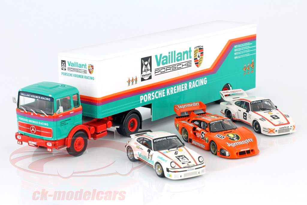 Mercedes-Benz LPS 1632 gara auto trasportatore Porsche Kremer Racing 1:43 Ixo