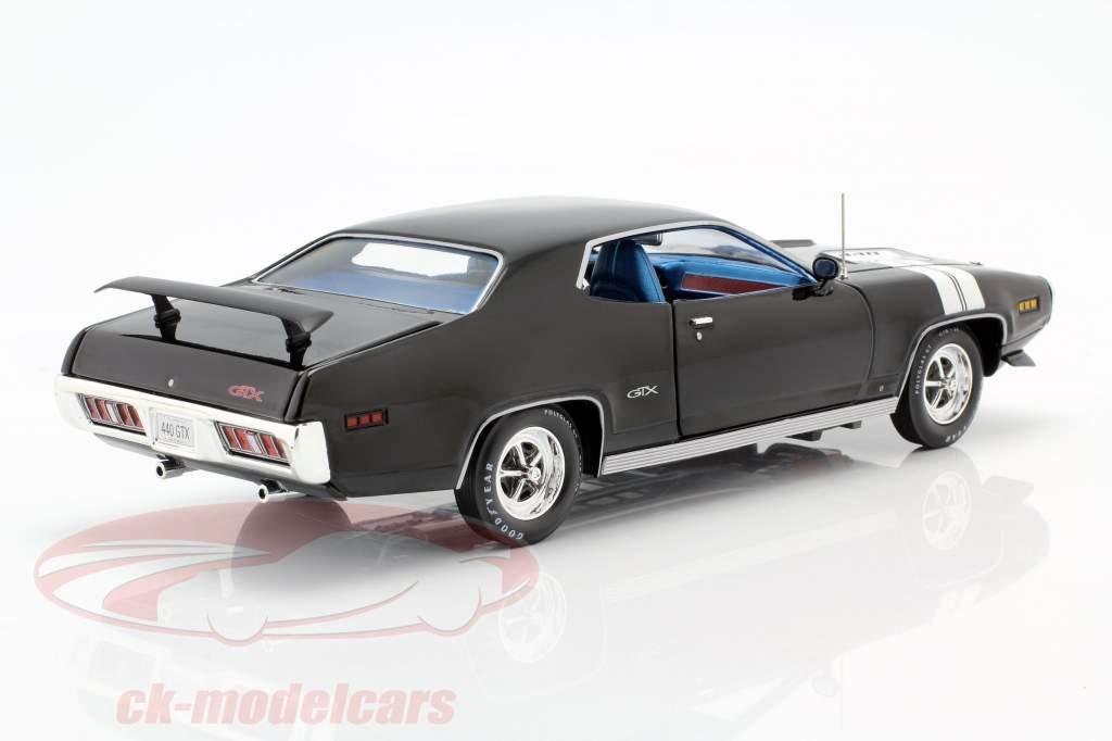 Plymouth GTX Ano de construção 1971 preto / branco 1:18 Autoworld