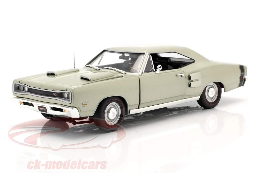 Dodge Coronet R/T year 1969 silver green metallic 1:18 Autoworld