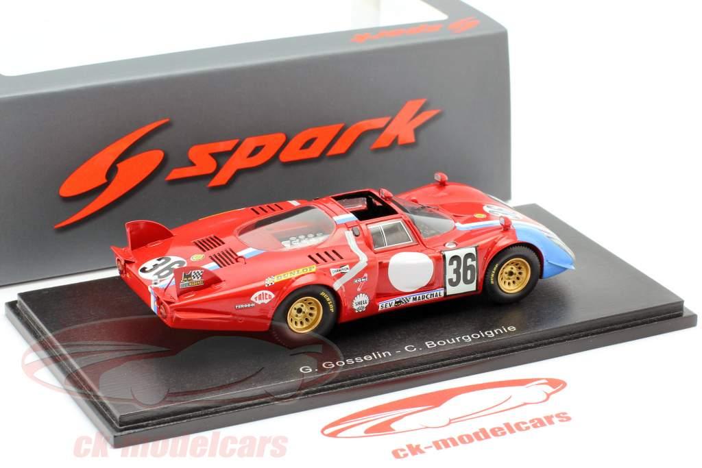 Alfa Romeo T33 / 2 #36 24 uur LeMans 1969 Gosselin, Bourgoignie 1:43 Spark