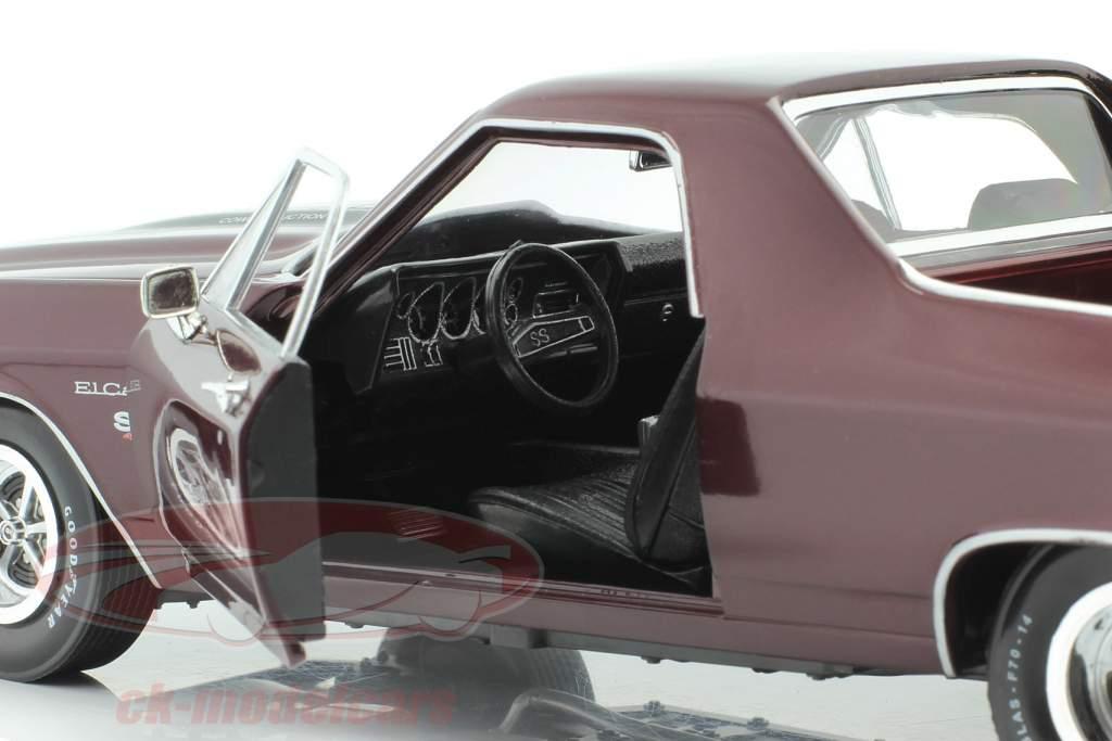 Chevrolet El Camino Pick Up Bouwjaar 1970 donker rood metaalachtig 1:18 Autoworld