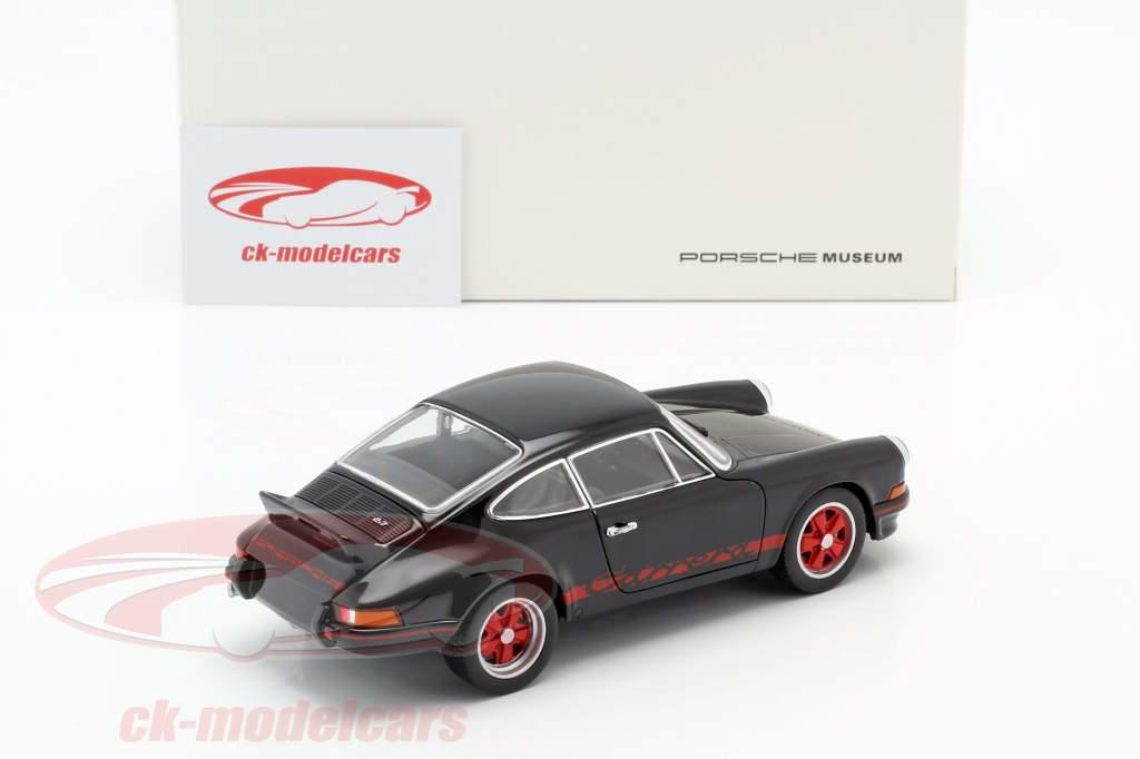 Porsche 911 Carrera RS Bouwjaar 1973 zwart / rood 1:24 Welly