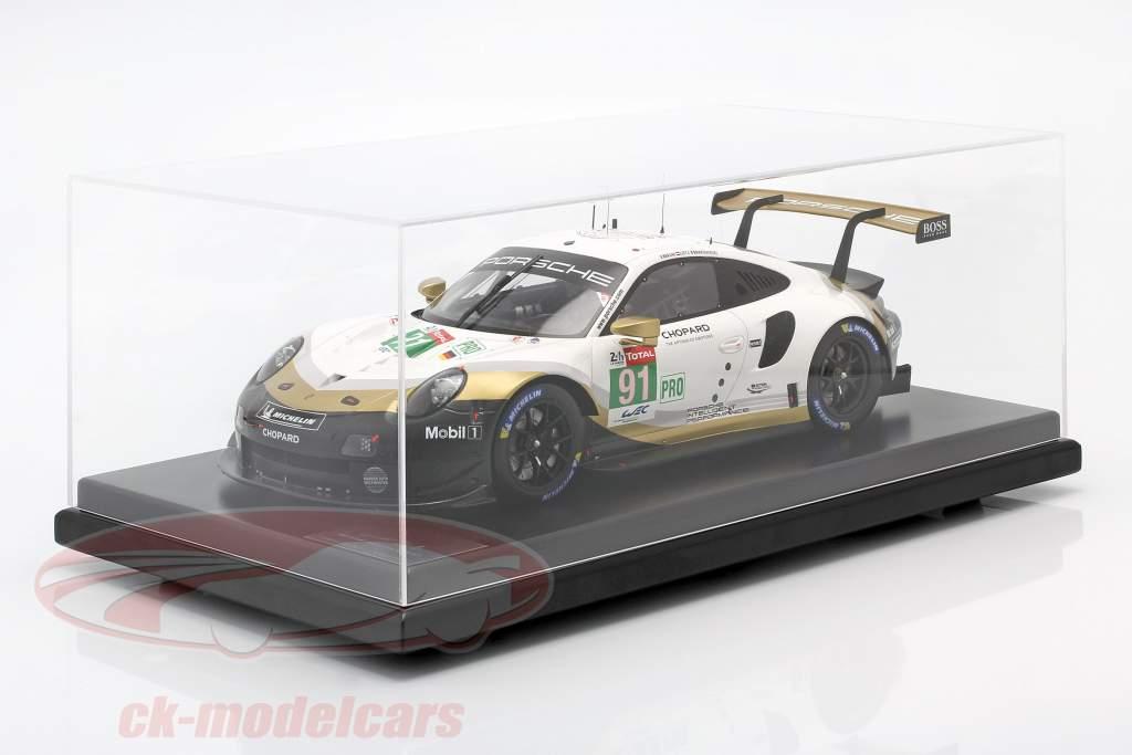 Porsche 911 RSR #91 Campeão mundial da marca 24h LeMans 2019 com Vitrine 1:12 Spark