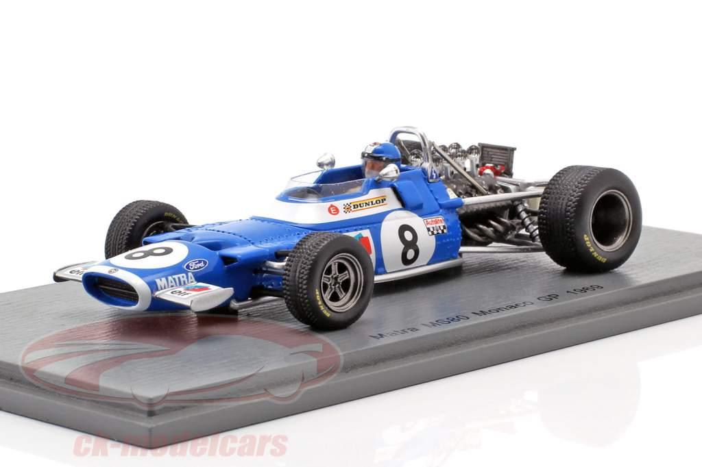 Jean-Pierre Beltoise Matra MS80 #8 Monaco GP Formule 1 1969 1:43 Spark