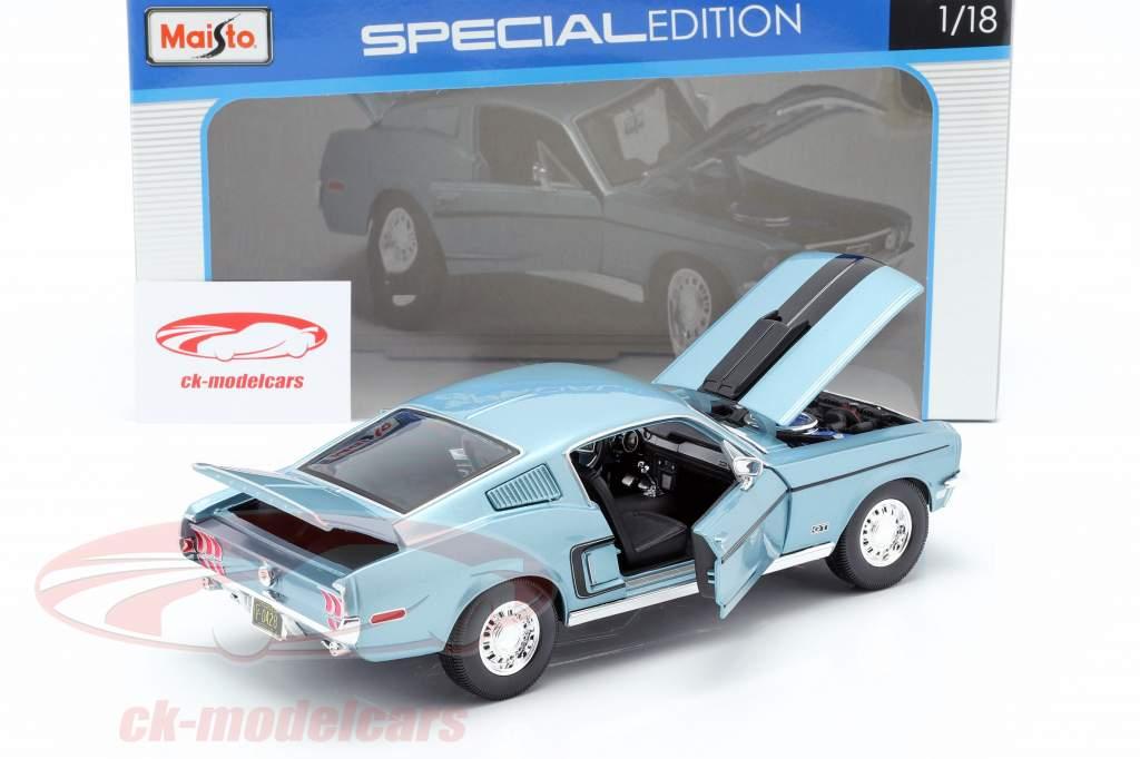 Ford Mustang GT Cobra Jet Année 1968 bleu métallique / noir 1:18 Maisto