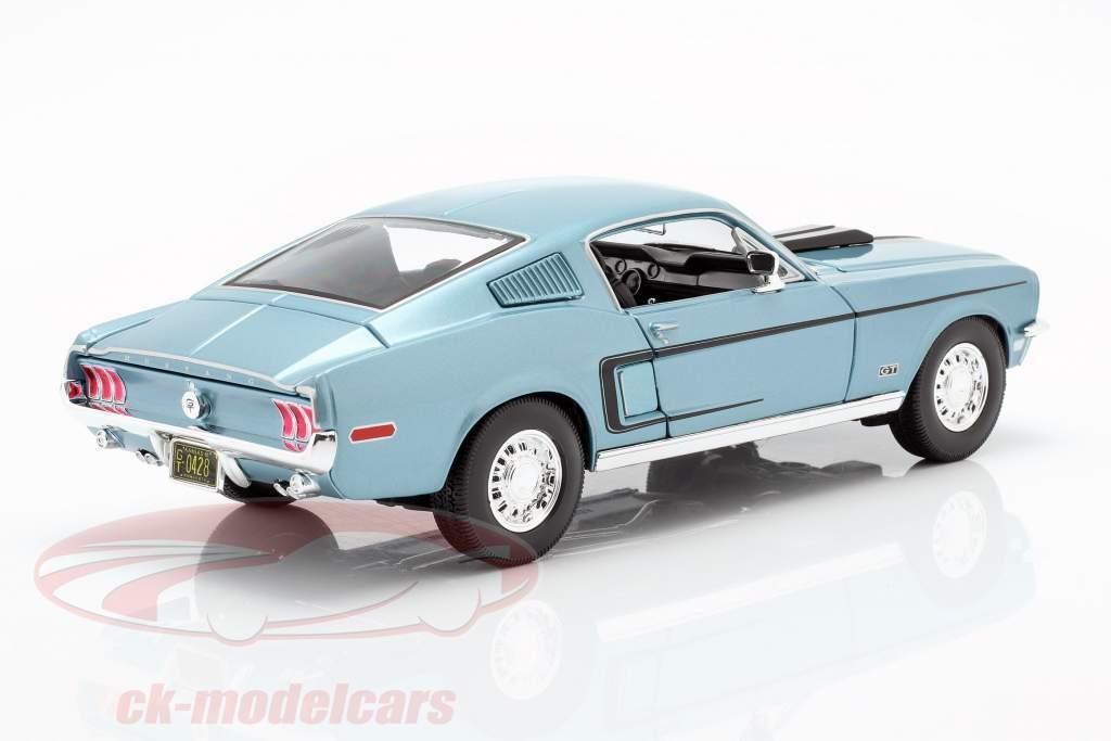 Ford Mustang GT Cobra Jet Jaar 1968 blauw metallic / zwart 1:18 Maisto