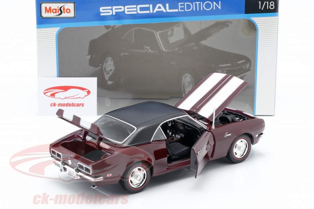 Chevrolet Camaro Z/28 År 1968 mørk rød med hvid Strip 1:18 Maisto