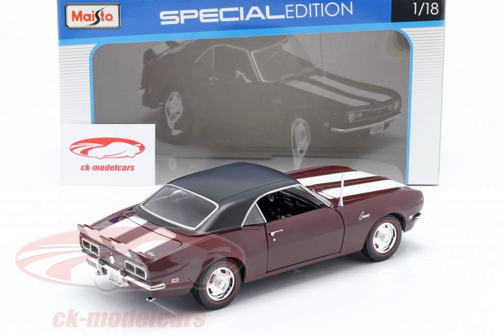 Chevrolet Camaro Z/28 Jaar 1968 donker rood met wit Strip 1:18 Maisto