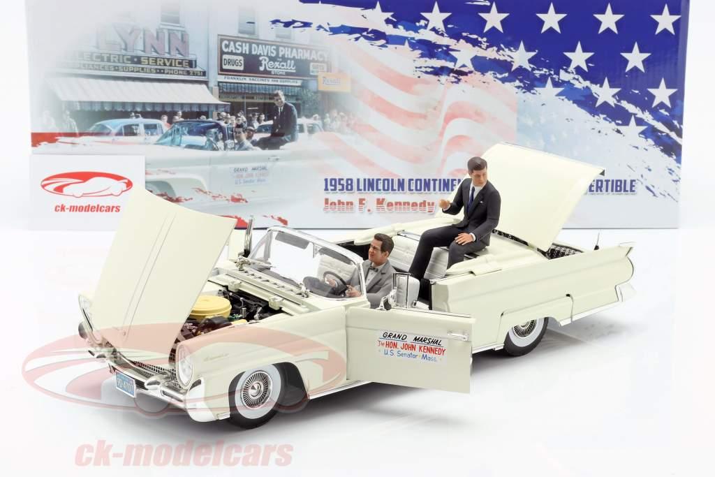 Lincoln Continental MK III convertibile 1958 J. F. Kennedy con figurine 1:18 SunStar