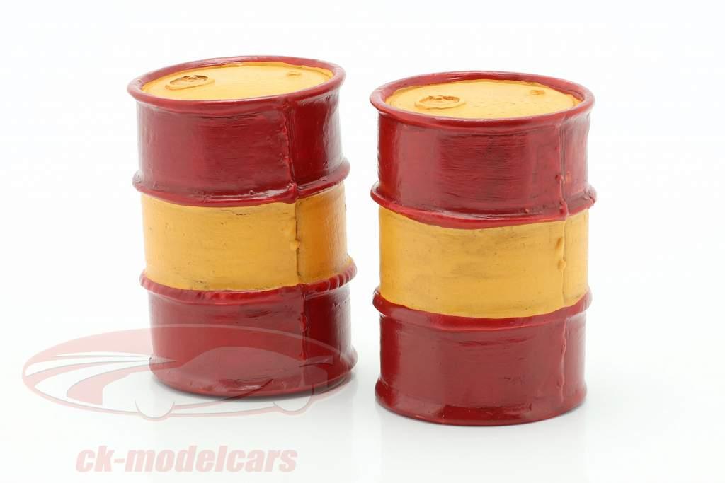 Set com 2 Barris de óleo vermelho / laranja 1:18 American Diorama