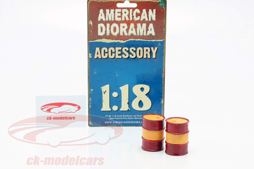 Set con 2 Barriles de petróleo rojo / naranja 1:18 American Diorama