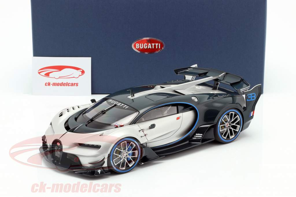 Bugatti Vision GT Byggeår 2015 sølv / carboxylsyre blå 1:18 AUTOart