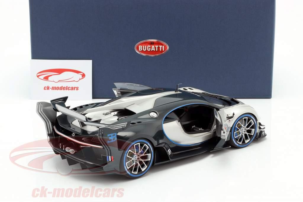 Bugatti Vision GT Bouwjaar 2015 zilver / koolstof blauw 1:18 AUTOart