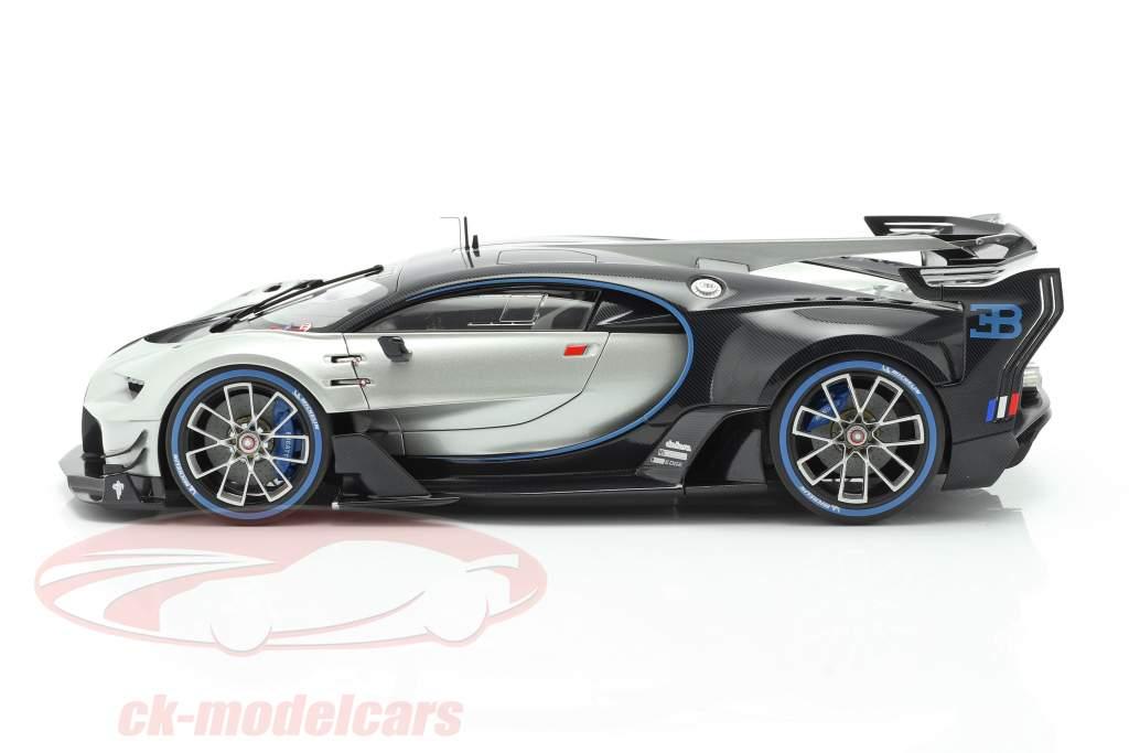 Bugatti Vision GT Ano de construção 2015 prateado / carbono azul 1:18 AUTOart