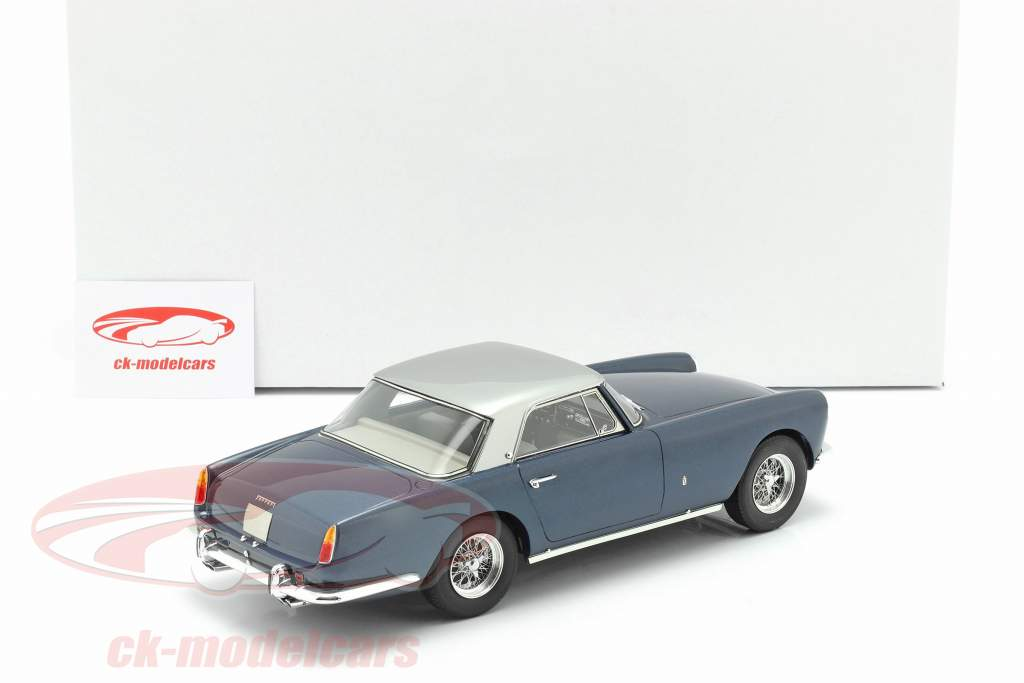 Ferrari 250 GT Coupe Pininfarina Bouwjaar 1958 blauw metallic / zilver 1:18 Matrix