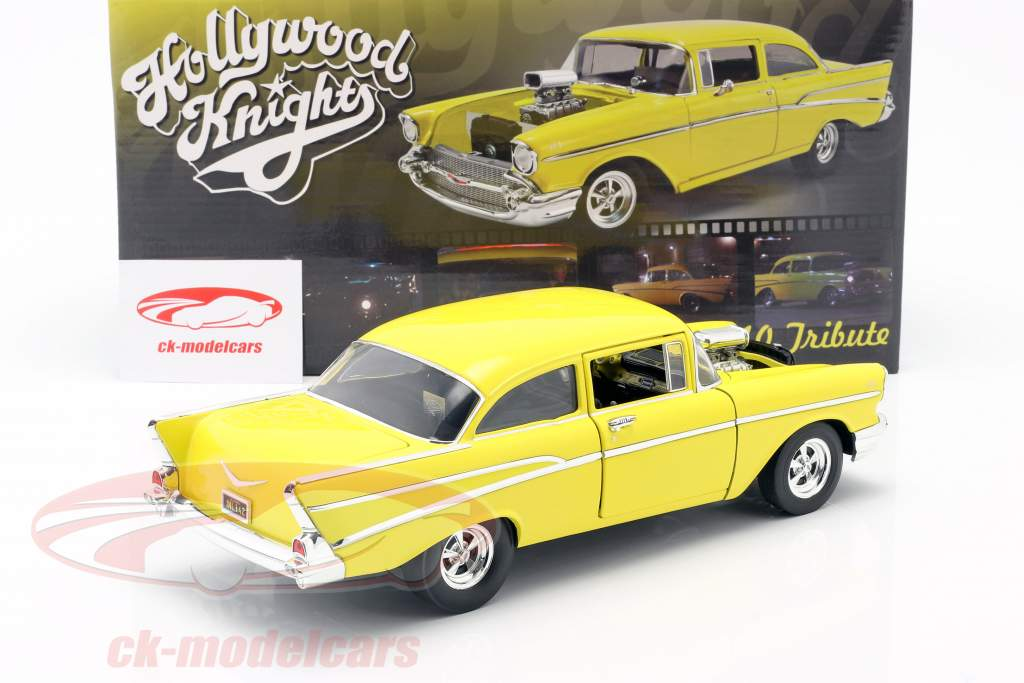 Chevrolet 210 Byggeår 1957 Hollywood Knights Tribute Edition gul 1:18 GMP