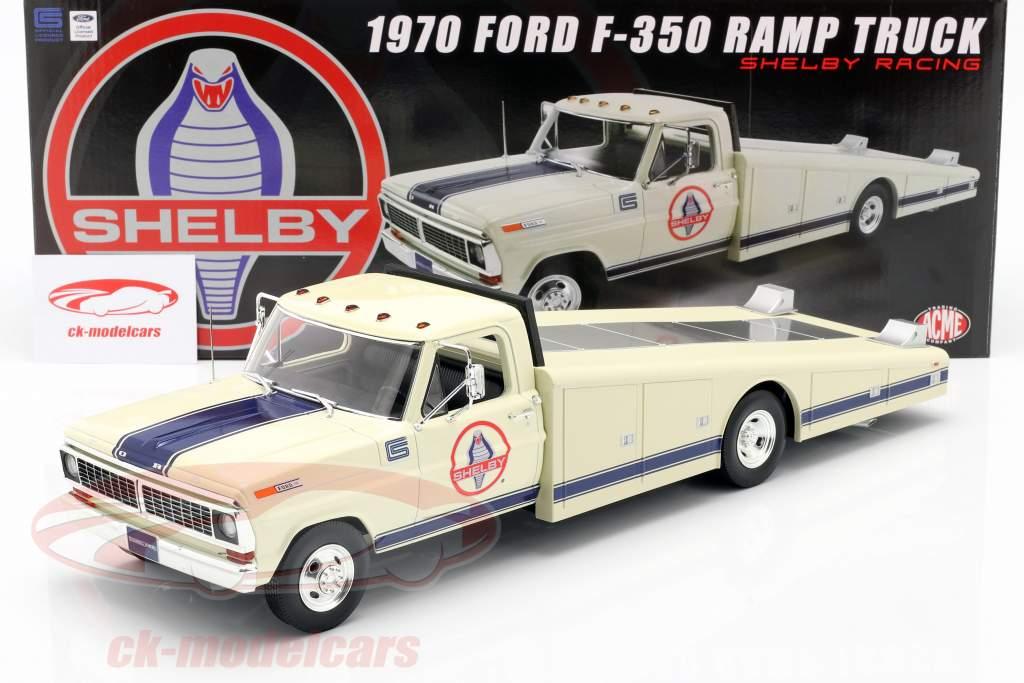 Ford F350 Ramp Truck Shelby Racing Byggeår 1970 hvid 1:18 GMP