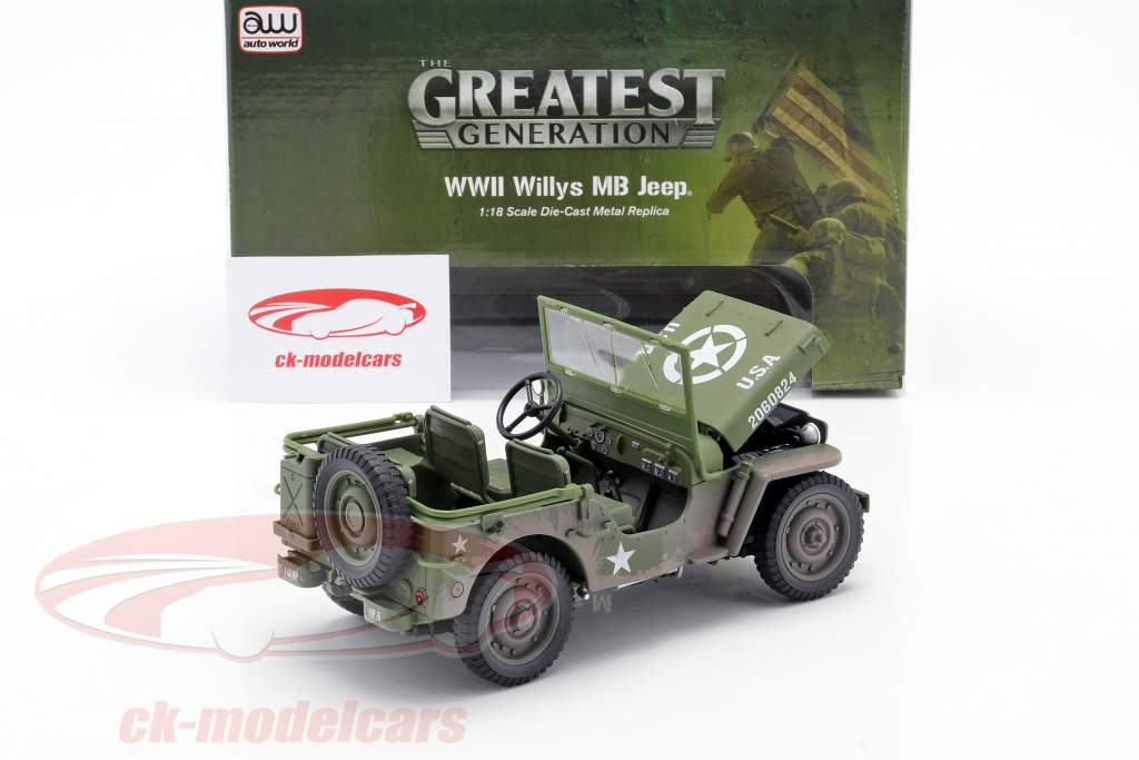 Willys MB Jeep 4x4 US Army Byggeår 1941 oliven grøn Dirty Version 1:18 Autoworld
