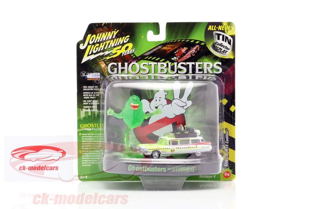 Cadillac Eldorado Ecto 1A 1959 Ghostbusters med figur Slimer 1:64 Johnny Lightning