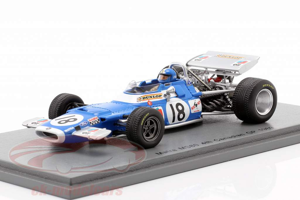 Jean-Pierre Beltoise Matra MS80 #18 4e Canadees GP Formule 1 1969 1:43 Spark