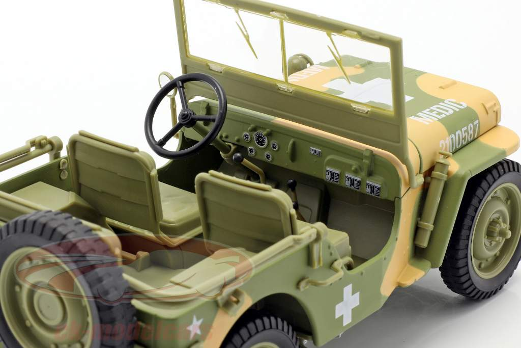 Willys MB Medical Jeep 4x4 US Army Año de construcción 1941 camuflaje 1:18 Autoworld