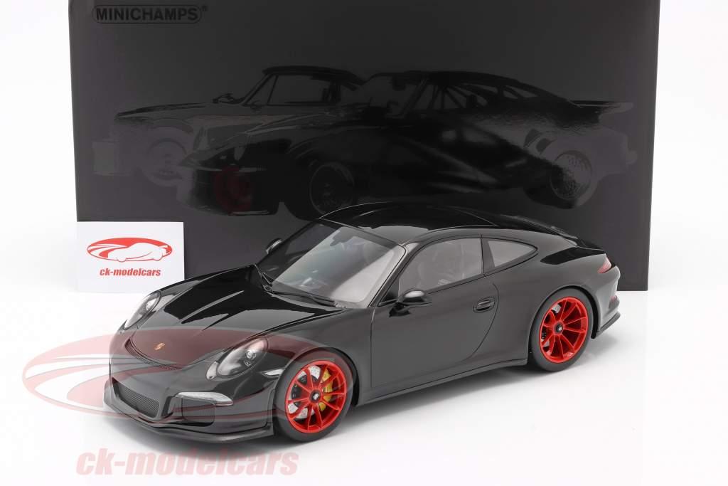 Porsche 911 R Baujahr 2016 schwarz mit roten Felgen1:12 Minichamps