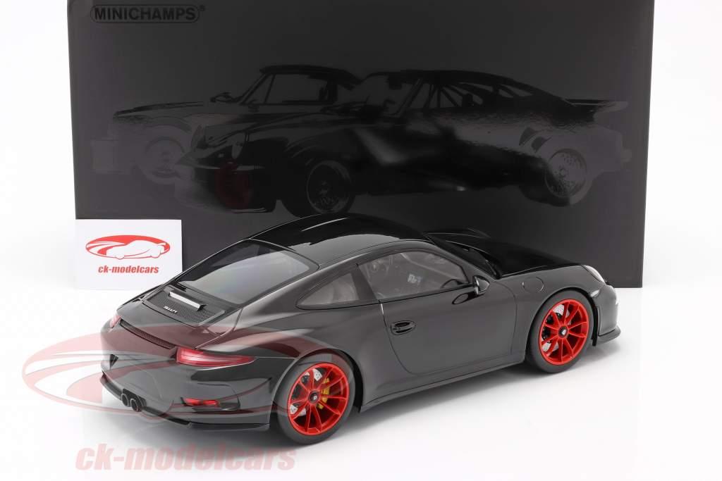 Porsche 911 R Anno di costruzione 2016 nero con rosso cerchioni 1:12 Minichamps