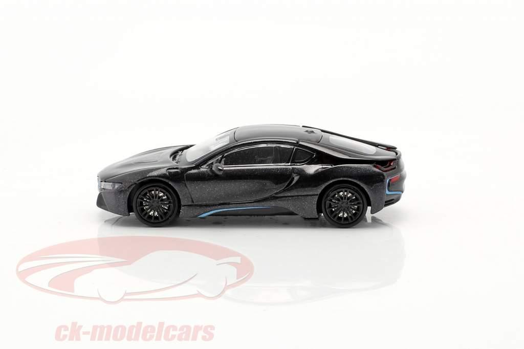 BMW i8 Coupe (I12) Byggeår 2015 mørkegrå metallisk 1:87 Minichamps
