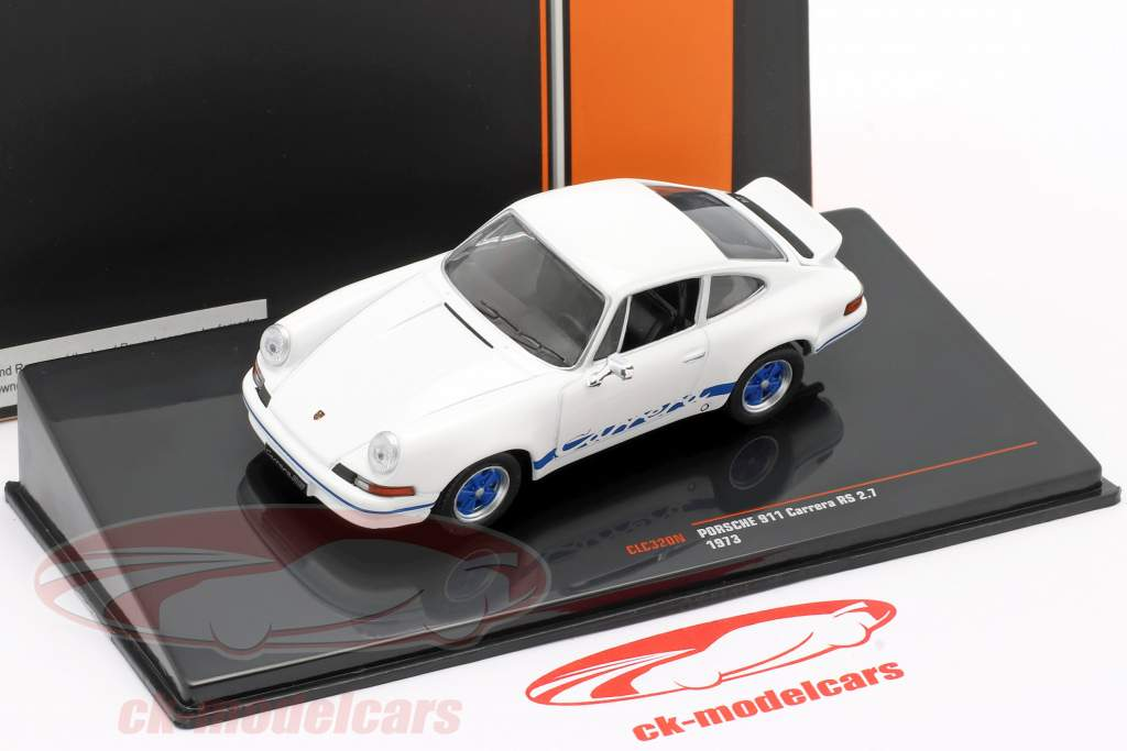 Porsche 911 Carrera RS 2.7 Bouwjaar 1973 wit / blauw 1:43 Ixo