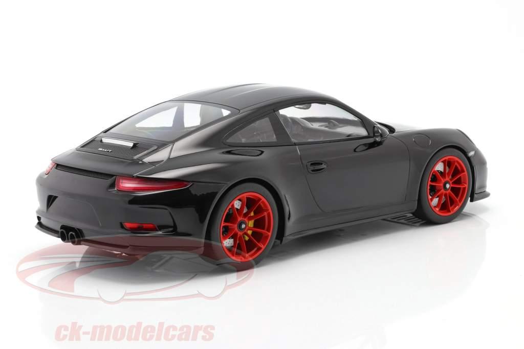 Porsche 911 R Année de construction 2016 noir avec rouge jantes 1:12 Minichamps