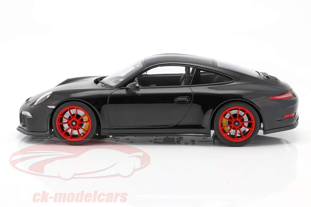 Porsche 911 R Año de construcción 2016 negro con rojo llantas 1:12 Minichamps