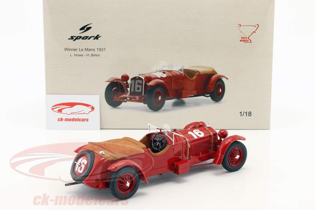 Alfa Romeo 8C 2300 LM #16 vincitore 24h LeMans 1931 Howe, Birkin 1:18 Spark / 2. elezione