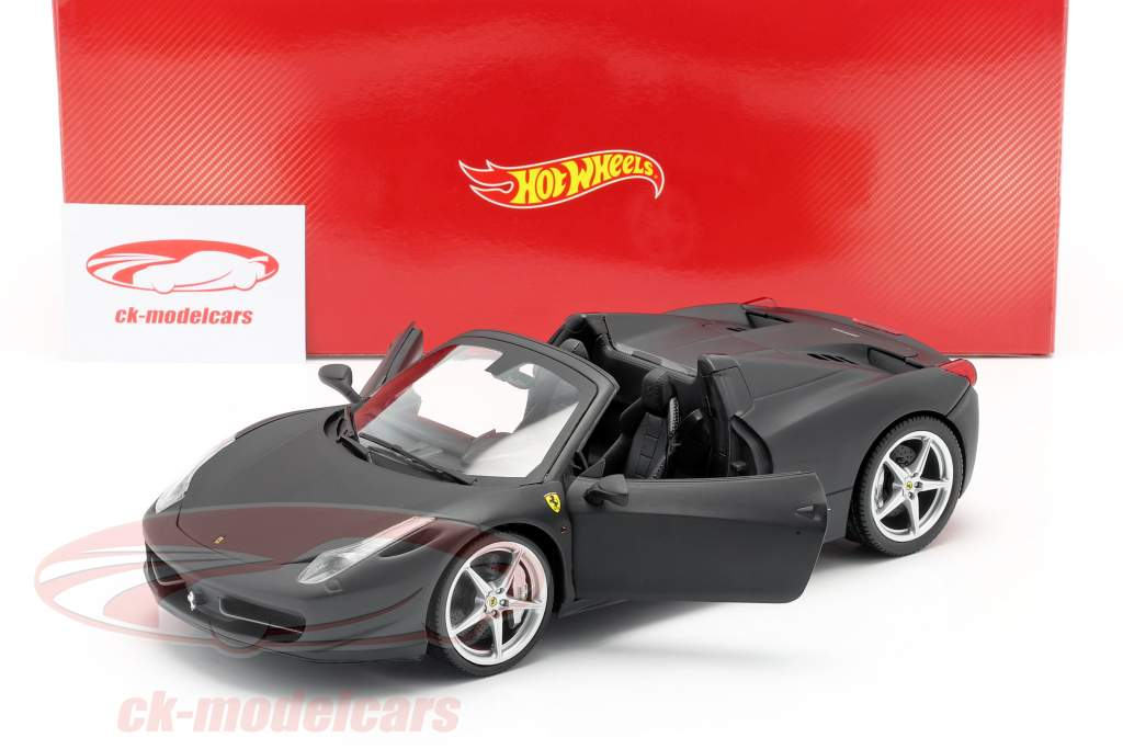 Ferrari 458 Italia Spider 2011 preto fosco 1:18 HotWheels Património