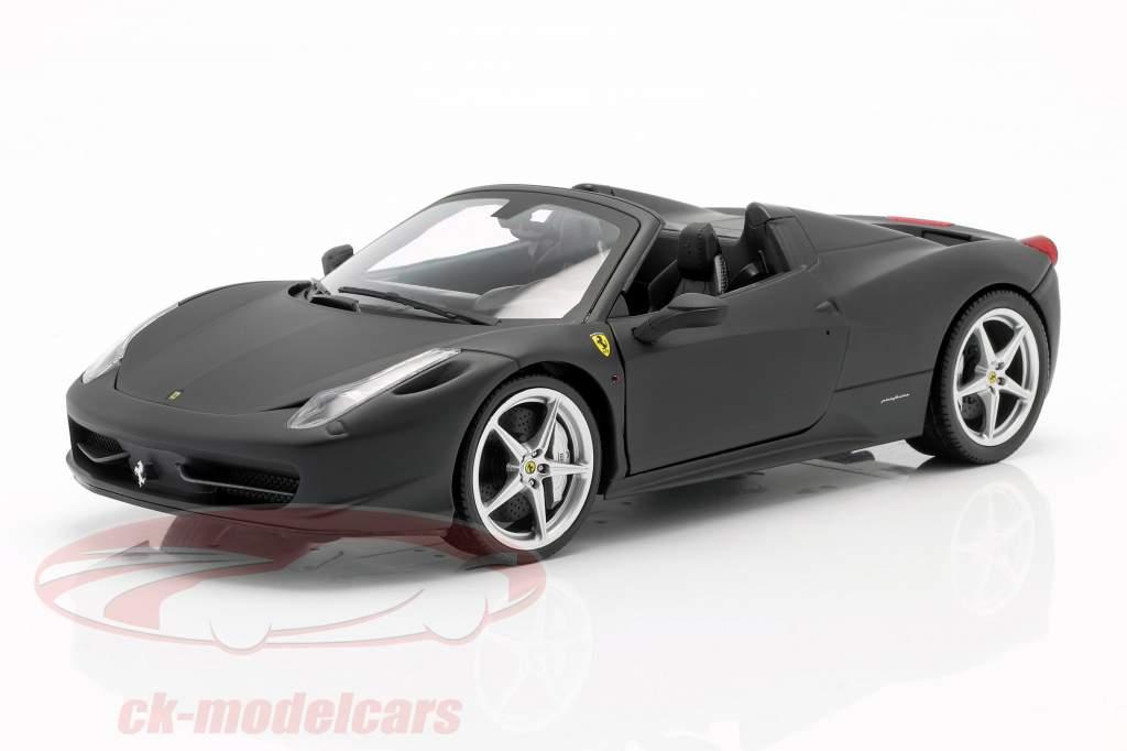 Ferrari 458 Italia Spider 2011 negro mate uno y dieciocho Hotwheels Patrimonio