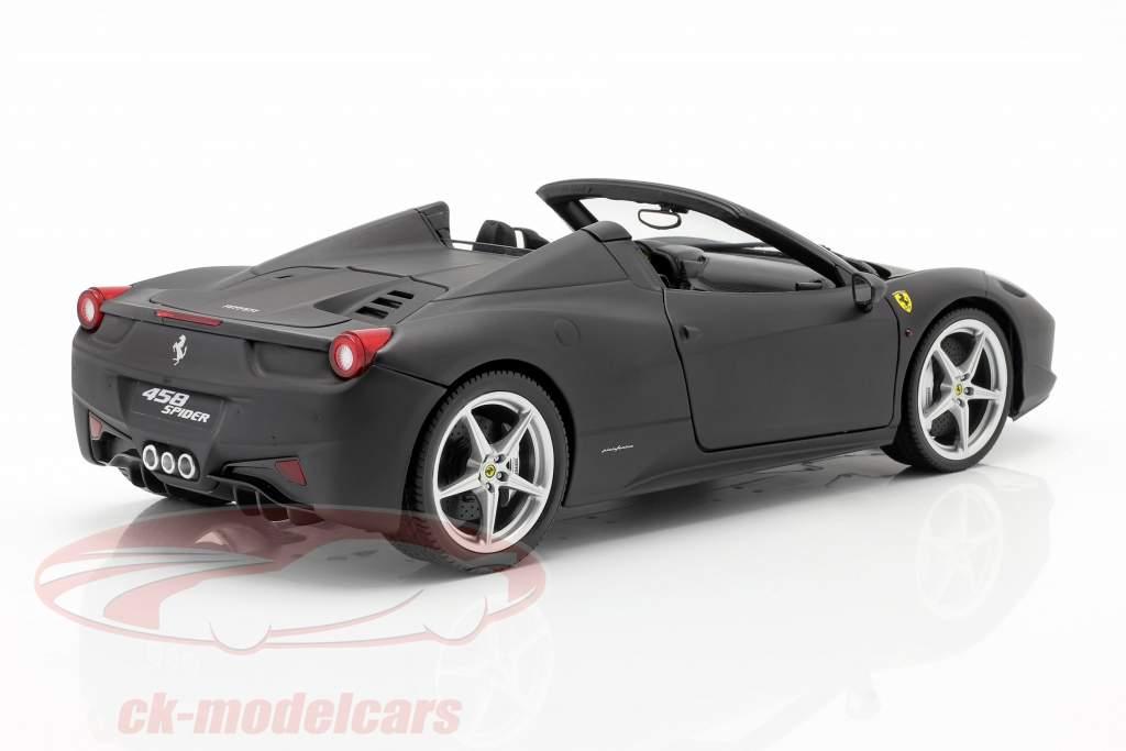 Ferrari 458 Italia Spider Bj. 2011 mattschwarz 1:18 HotWheels Heritage