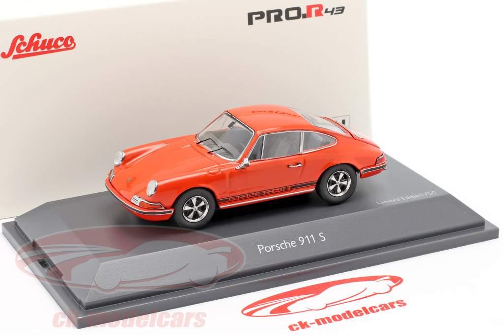 Porsche 911 S Coupe Bouwjaar 1971 oranje 1:43 Schuco