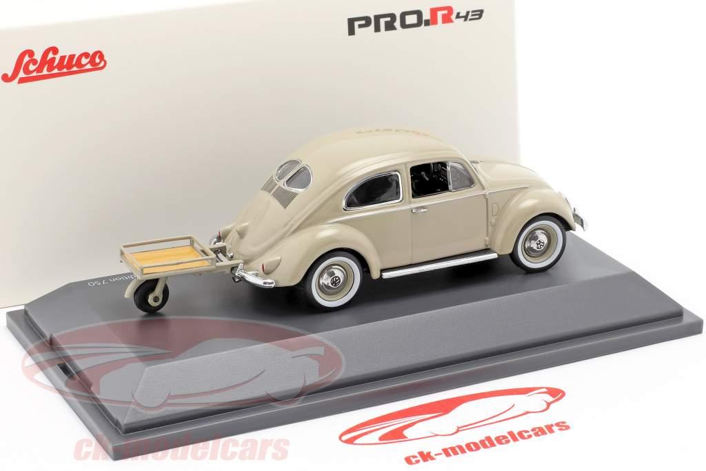 Volkswagen VW Pretzel bille med Auto Porter beige 1:43 Schuco