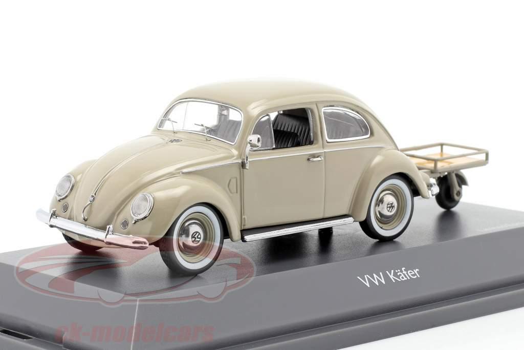 Volkswagen VW Scarabeo pretzel con Auto Porter beige 1:43 Schuco